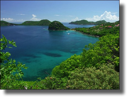 View of the bay of Pain de Sucre, Les Saintes, French Caribbean
