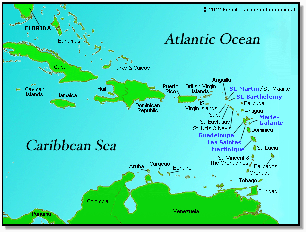 Caribbean map with Guadeloupe, Martinique, St. Barts, St. Martin, Les Saintes and Marie-Galante | © 2012 French Caribbean International